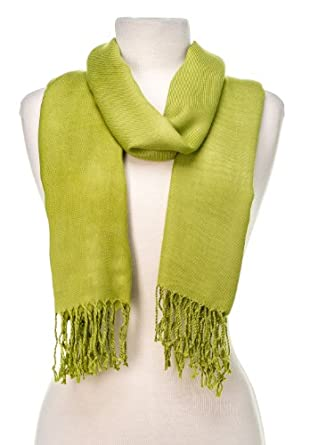 Noble Mount Solid Plain Pashmina with a Complimentary Gift - Apple Green