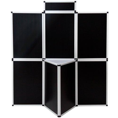 TecTake® Promotionswand 180x200 cm Messestand Faltdisplay Faltwand Faltpaneel Messewand mit Tisch schwarz thumbnail
