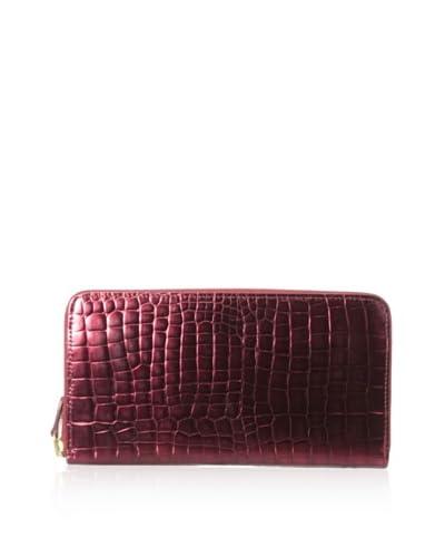 AEON Women's Large Zip Wallet, Red Metallic Croc