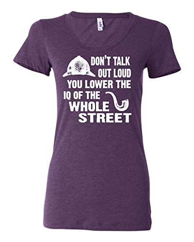 Large Purple Womens Don''t Talk Out Loud You Lower The IQ Tri-Blend T-shirt