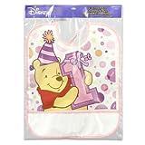 Plastic Bib Winnie the Pooh 1st Birthday Day Girl 13.25h x 11l