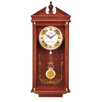 Seiko Wall Pendulum Clock Dark Brown Solid Oak Case