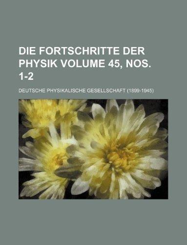 Die Fortschritte der Physik Volume 45, nos. 1-2