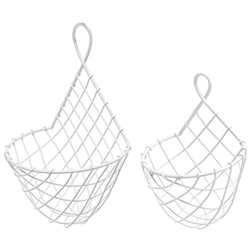 (Set of 2) Wall Mounted White Woven Metal Wire Hanging Fruit & Produce Holder / Flower & Plant Baskets (Wire Wall Planter compare prices)