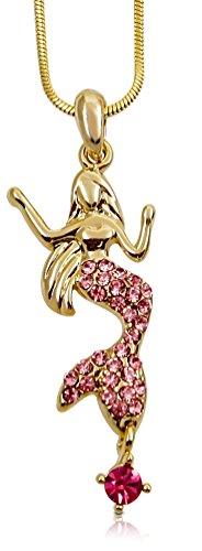 Gold Tone Mermaid Charm Necklace with Pink Crystals for Girls Teens Women (Lil Mermaid Shoes compare prices)