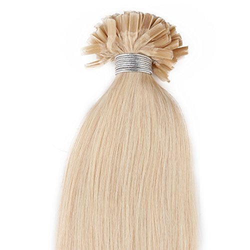 "Beauty7 50G 0.5G/S Pre Bonded Nail U Tip Real Remy Human Hair Extensions 18"" 20"" 22"" 24"" #613 Bleach Blonde (20"" 0.5G/S) front-352699"