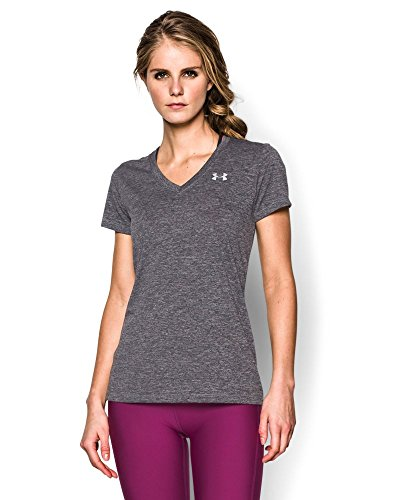Under armour women s tech short sleeve dope dye t shirt for Silver metallic shirt women s