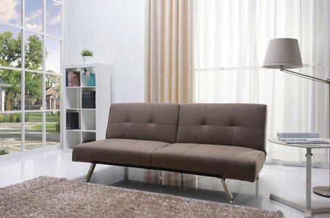 Jacksonville Mocha Fabric Futon Sofa Chrome Bed