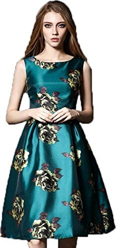 Fancy western wear and party designer wear Satin Green Colour Digital Print Crew Neck Sleeve Less Regular Fit Frock/One piece by H K Sales(Size-L)
