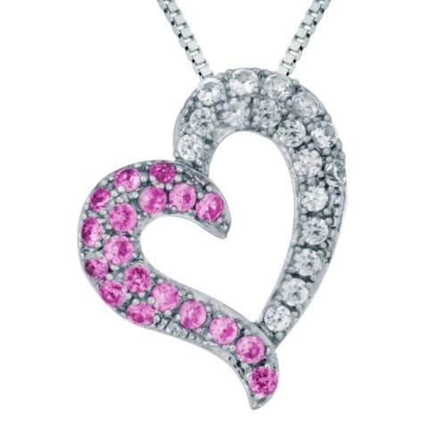 Sterling Silver Created Pink and Created White Sapphire Heart Pendant Necklace , 18
