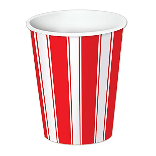 Beistle Stripes Beverage Cups, 9-Ounce, Red/White, 8 Count