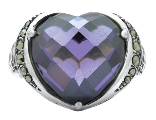 Harley-Davidson .925 Silver Purple Stone Heart With Marcasite Ring (7)
