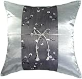 "Artiwa Gray Silver Floral 16""x16"" Silk Couch Bed Decorative Throw Cushion Cover"