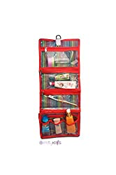 PrettyKrafts Foldable Make Up Kit - Cosmetic Organizer - Jewellery Bag - Red
