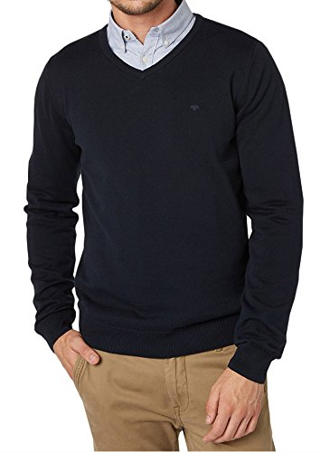 TOM TAILOR Basic V-neck Sweater-Felpa Uomo   , Uomo, blu navy, XL