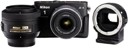 Amazon.co.jp限定Nikon1 J3 HLK+35mmダブルレンズセットA ブラック N1J3+35mmBKWLKA