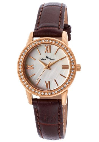 Lucien Piccard Women's LP-12006-RG-02S Veleta Silver Textured Dial Swarovski Crystal Accents Brown Leather Watch