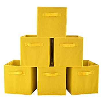 VCCUCINE Foldable Fabric Storage Containers Drawers, 6 pack Yellow Storage Cube Baskets