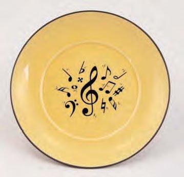 Teller-aus-Porzellan-mit-Musikmotiven-gelb-schnes-Geschenk-fr-Musiker