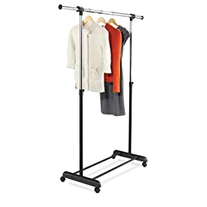 Honey-Can-Do GAR-01124 Expandable Bar Garment Rack, Chrome/Black