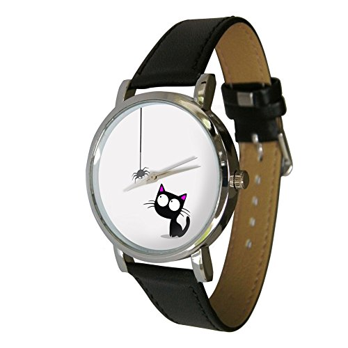 Cute Cat and Spider Design Fashion Watch. The Perfect Gift for Any Cat Lover. Leather