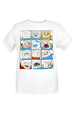Adventure Time The Many Faces Of Finn T-Shirt (White) Size : Small