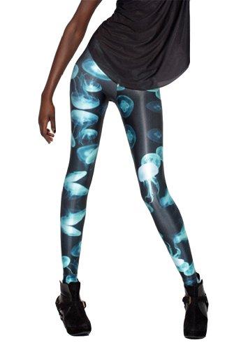 Women'S Fashion Digital Print Jellyfish Pattern Sexy Leggings(Blue)