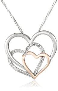 XPY Sterling Silver and 14k Pink Gold Diamond Triple Heart Pendant Necklace, 18