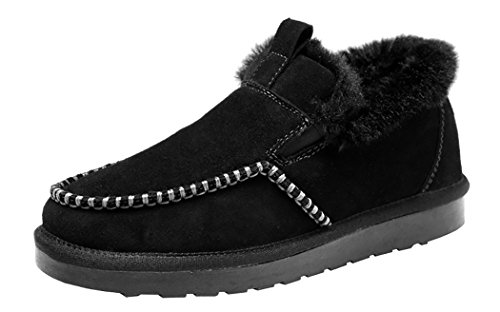 Rock Me Men's Ancient I Winter Retro Plush Flat Snow Boot(11 D(M) US, Black)