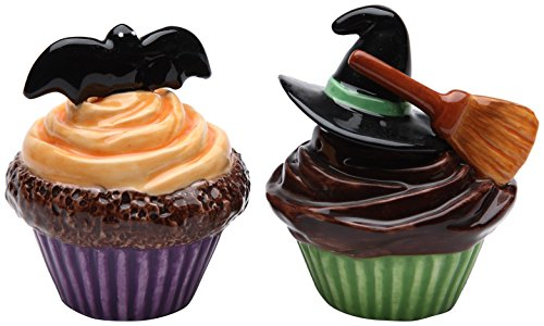 Cute Bat and Witches Hat & Broom Salt and Pepper Shakers