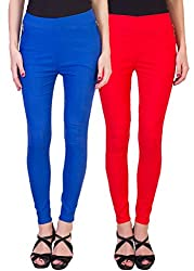 2DAYS STYLISH WOMEN JEGGING ROYAL BLUE/RED (PACK OF 2)