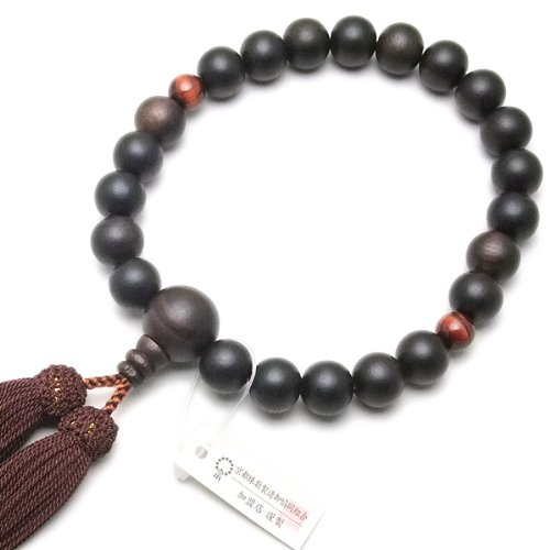 Takita shopping brands great deals Beijing Rosary ◆ men's Rosary used in denominations of men's Rosary striped ebony (gloss off) 2 heaven red Tiger eye stone 22 ball [with beads bags] all [Takita Shoten published Kyo Rosary manufacturing Technician certif