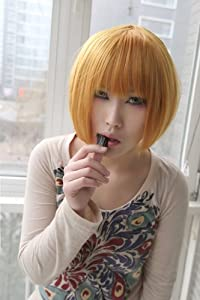Death Note Mello pure golden bob cosplay wig + yellow wig cap