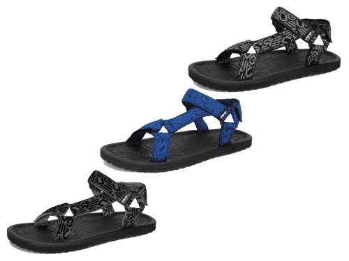 NEW MENS BOYS URBAN BEACH SPORTS SANDALS FLIP FLOPS VELCRO STRAPS HOLIDAY SIZE UK 6- 11