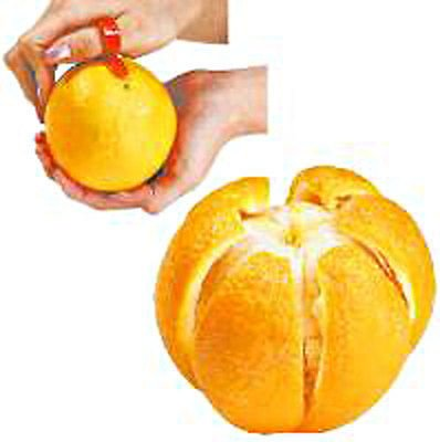 Orange Citrus Peelers (2- Pack) Lemon Lime Tangerine Grapefruit - Kitchen Gadget