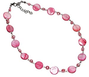 Chic-Net ladies pink coral necklace pearl necklace pearl pearl discs 42-48cm nickel free carabiner