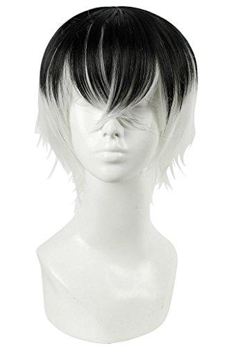 L-email 30cm/11.81inch Short Straight Kaneki Ken Cosplay Wig Black Blend White ZY143B