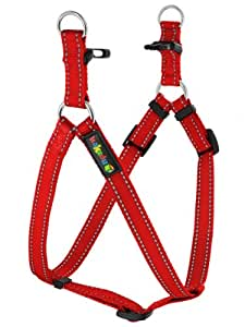 """Empire Tracks Adjustable Nylon Harness, Step In Dog Harness by Kakadu Pet, Small, 1/2"""" x 13-21"""", Fire (Red with Gray Stitch)"""