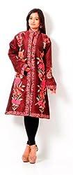 Inara Robes Womens Silk Jacket Kurta (Ac-Sku004 _Wine _Free Size)