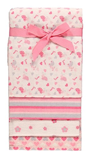 "Nuby ""Ladybug Love"" 4-Pack Receiving Blankets - pink, one size"