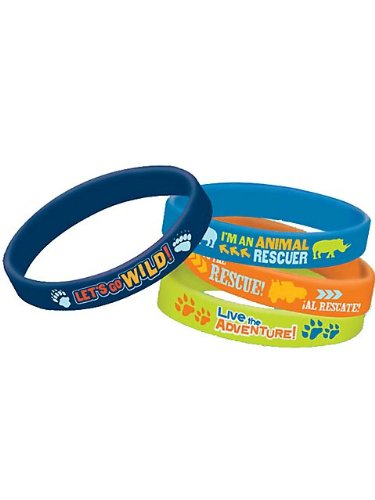 "Amscan Cool Diego's Biggest Rescue Rubber Bracelet Birthday Party Favor (4 Piece), 2-1/2 x-7/16"", Dark Blue/Light Blue/Orange/Yellow"