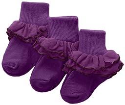 Jefferies Socks Little Girls\'  Misty Ruffle Turn Cuff  Socks (Pack of 3), Grape, X-Small