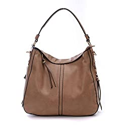 DDDH Large Women's Hobo Handbags PU Leather Purse Bag Cross-body Shoulder Bag Tactical Top-handle Bucket Bag(Camel)