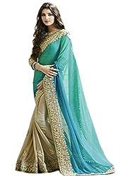 Shubhkari Fashion Blue Georgette Women's Fancy Saree With Blouse(SB_FREE_SIZE_1008)