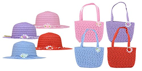 Girls Hat and Purse Set - Sun Hat - Cute Summer Flat Brim Hat