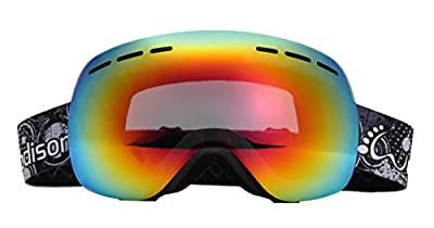 WODISON OTG Anti Fog Wide Angle Skate Ski Snow Goggles With Carrying Case