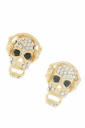 Tiffany & Zara Cyrstal Skull With Headphone Earrings (Gold)