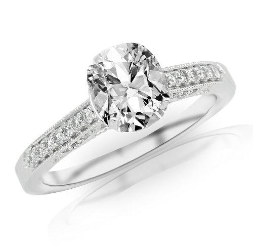 1.14 Carat Classic Designer Pave Set Diamond Engagement Ring w/ Cushion Cut Center (J Color SI2 Clarity)