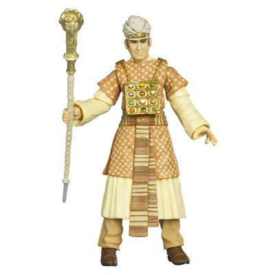 "Indiana Jones Movie Series Raiders of the Lost Ark 4 Inch Tall Action Figure - René Belloq with Colorful Robe, ""Jewels"" and Ram Headed Staff Plus Hidden Relic Accessories in a Crate - 1"