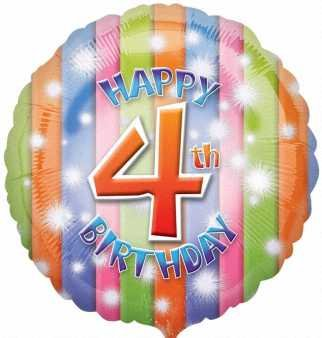Amscan Happy 4th Birthday Circle Foil Balloon HS40